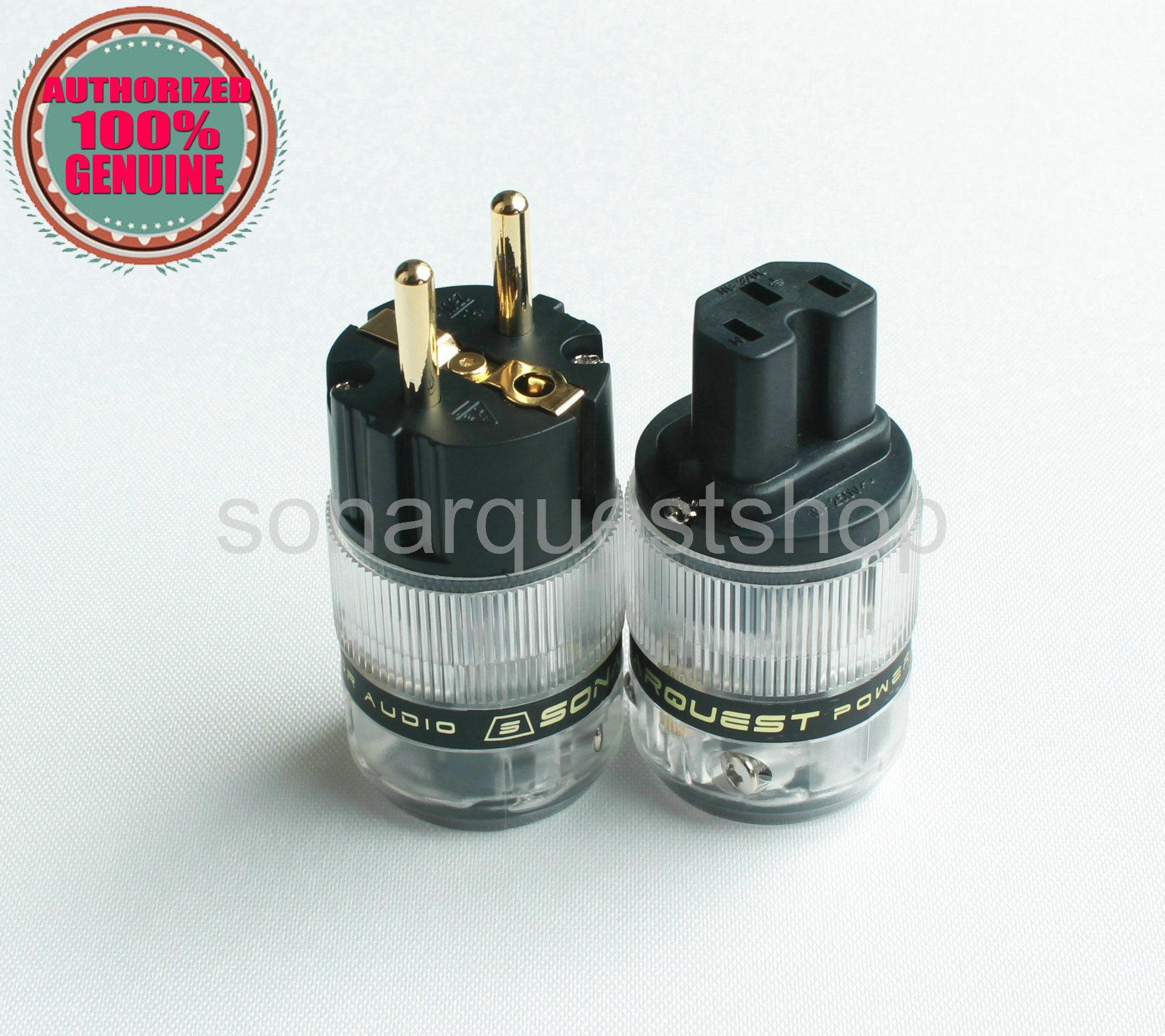 SONARQUEST ST-GE(B) + ST-GC(B) 24K Gold Plated EU Translucent Power Plug & IEC Connector