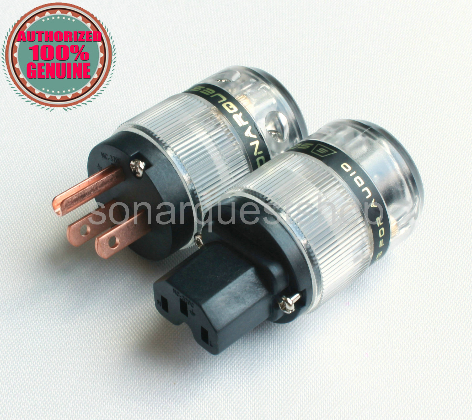 SONARQUEST ST-RP(B) + ST-RC(B) Red Copper Translucent Power Plug & IEC Connector