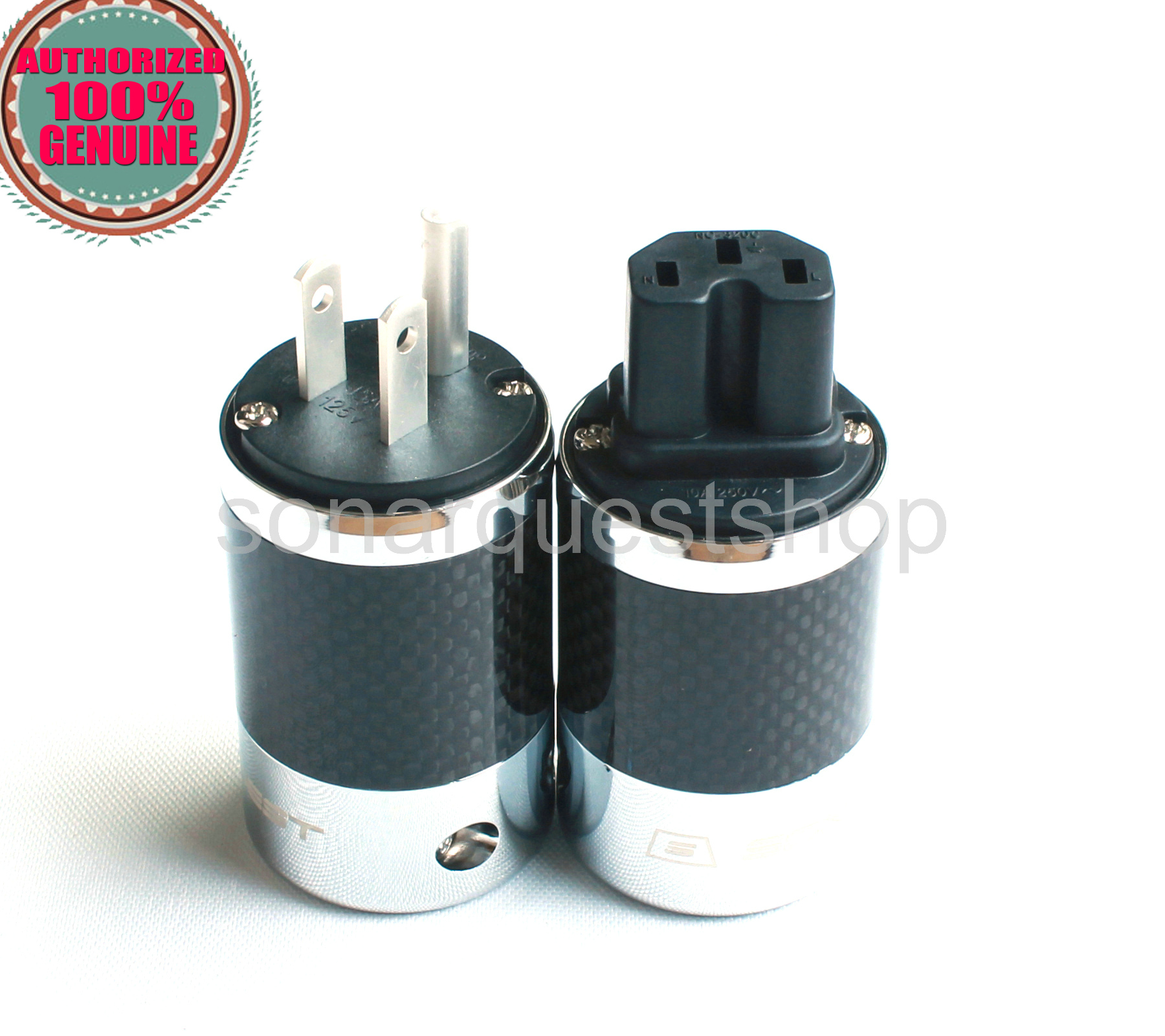 SONARQUEST SQ-P39(Ag)B + SQ-C39(Ag)B US silver Plated BK Carbon fiber Power Plug & IEC Connector