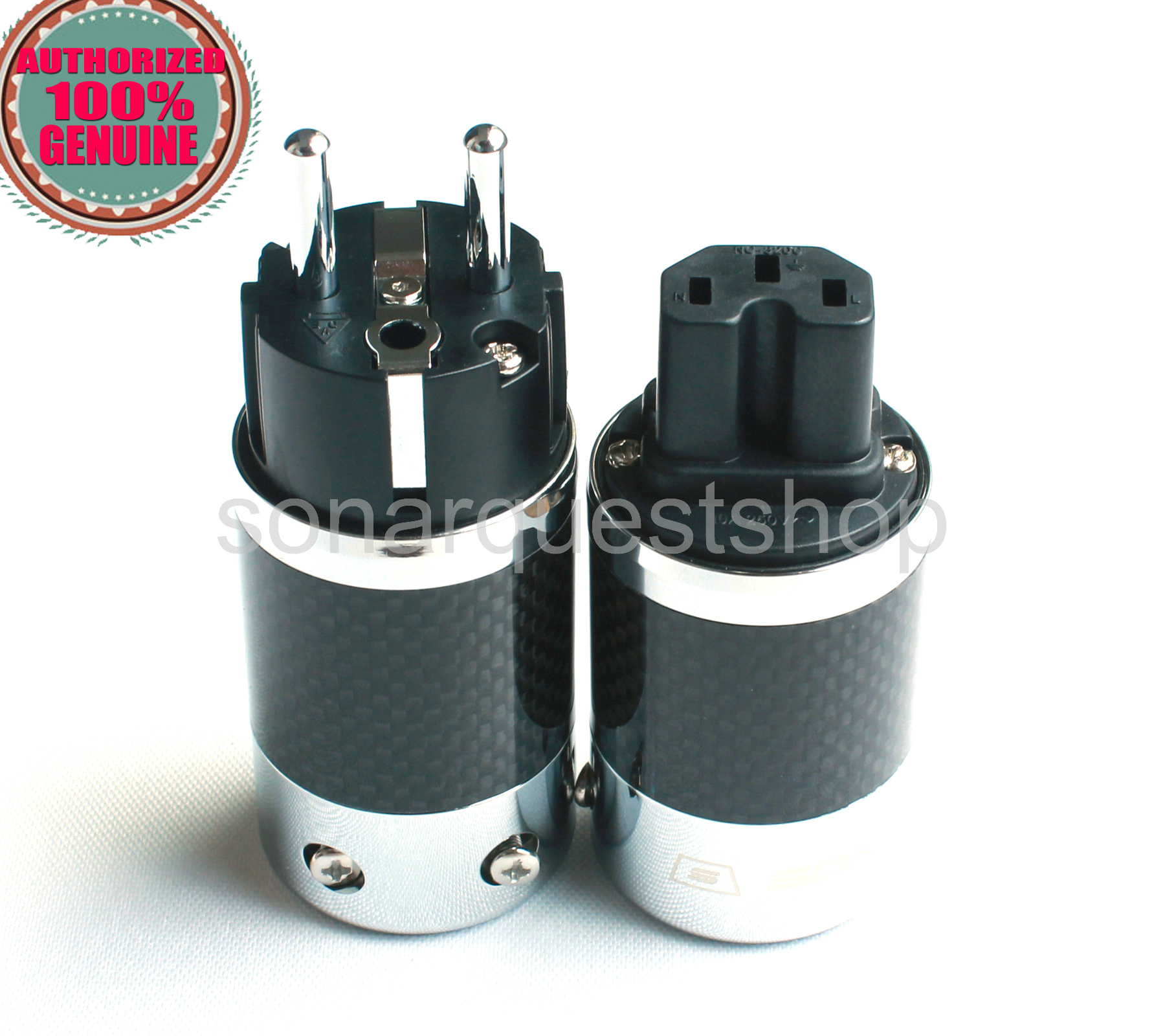 SONARQUEST SQ-E39(R)B + SQ-C39(R)B EU Rhodium Plated BK Carbon fiber Power Plug & IEC Connector