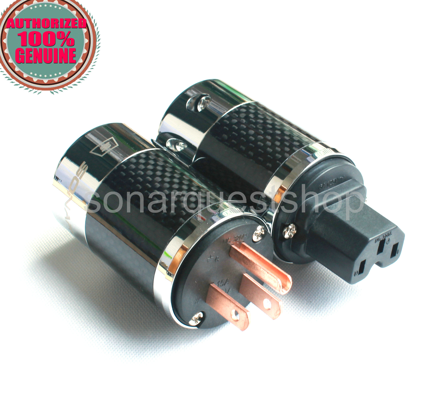 SONARQUEST SQ-P39(C)B + SQ-C39(C)B US Red Copper BK Carbon fiber Power Plug & IEC Connector