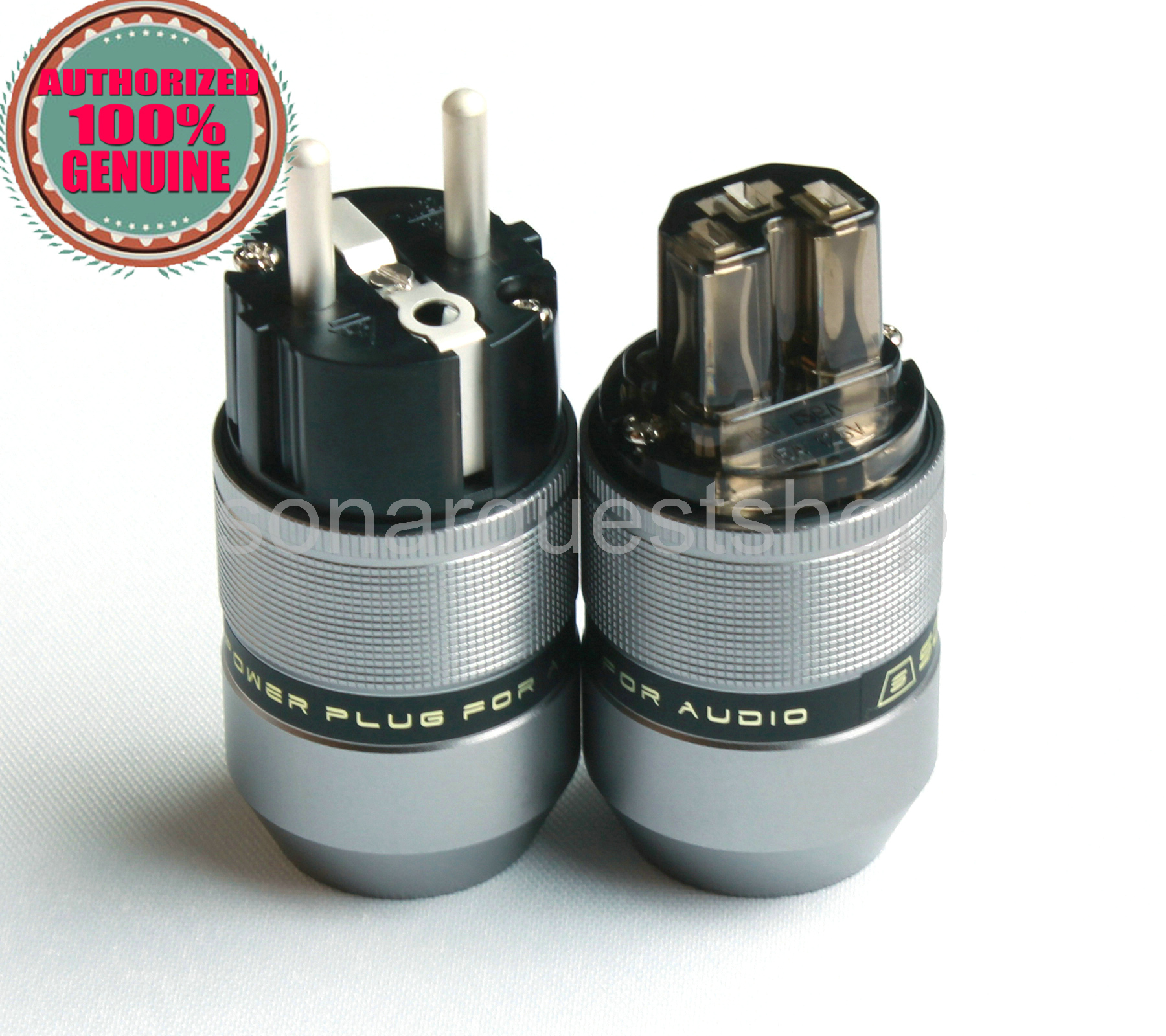 SONARQUEST PA-40E(Ag)+PA-40F(Ag) EU silver Plated Gray Special Aluminum alloy Power Plug & IEC Connector