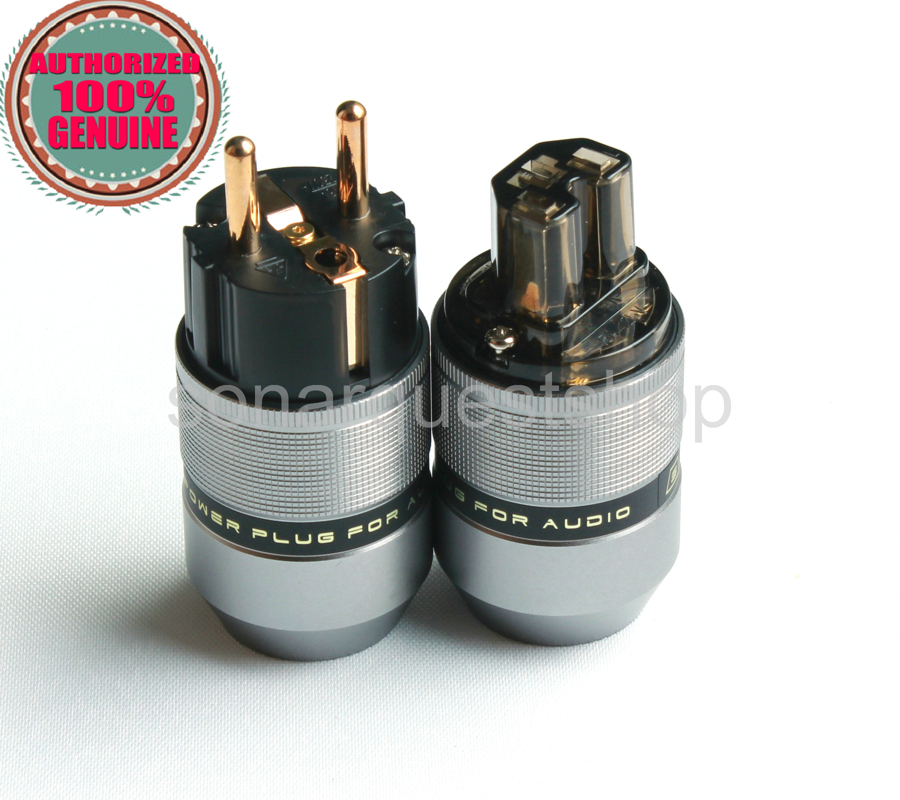 SONARQUEST PA-40E(G) + PA-40F(G) EU Gold Plated Gray Special Aluminum alloy Power Plug & IEC Connector