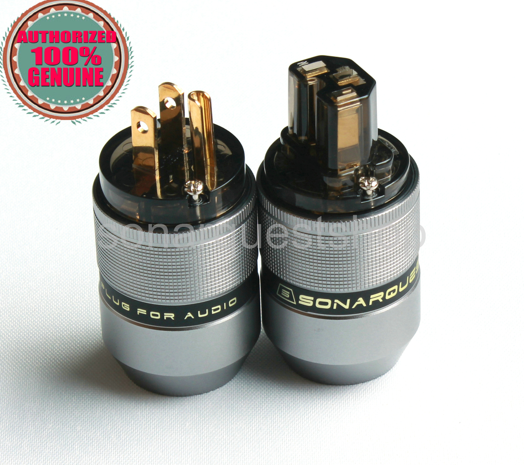 SONARQUEST PA-40M(G) + PA-40F(G) US Gold Plated Gray Special Aluminum alloy Power Plug & IEC Connector