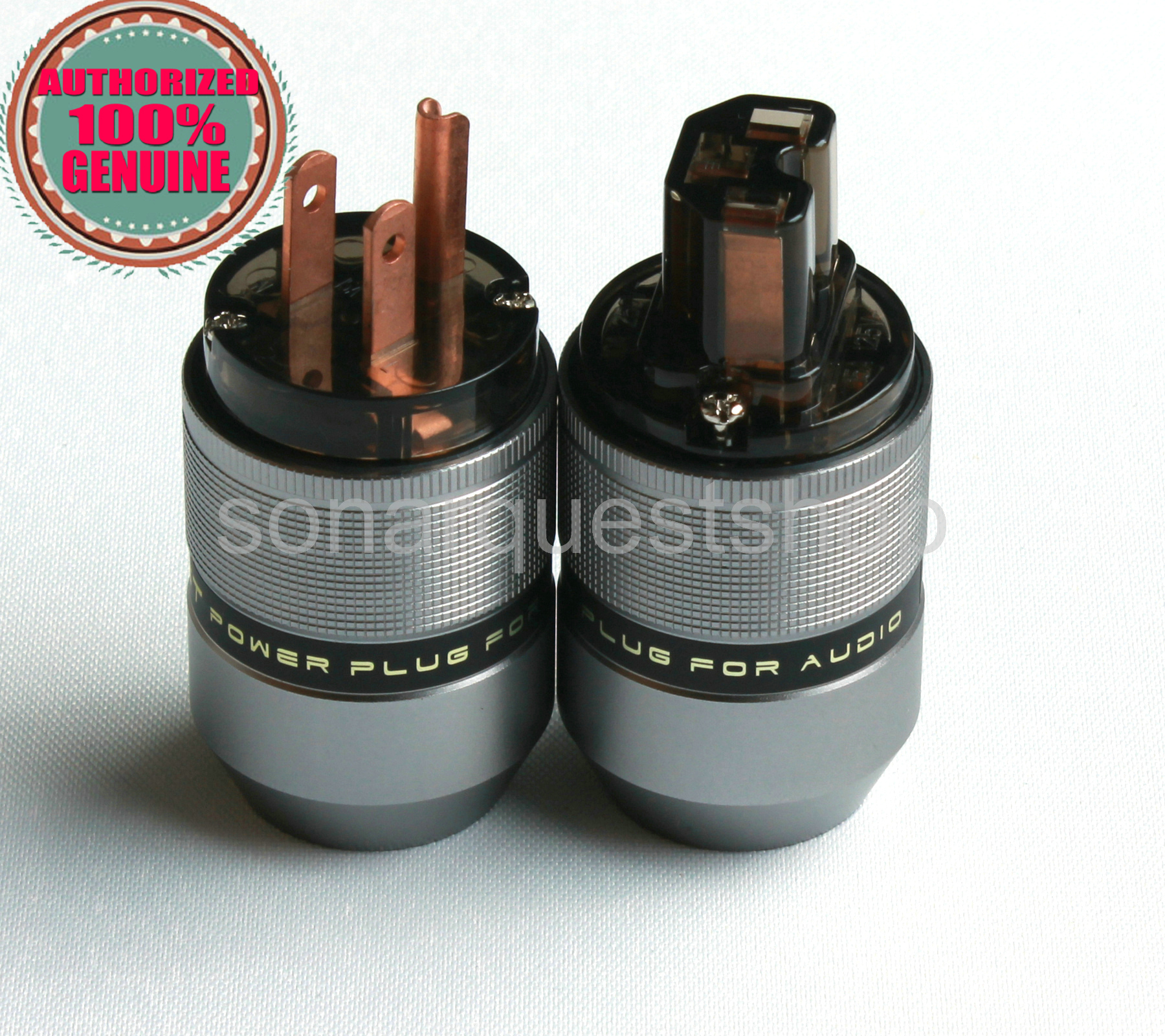 SONARQUEST PA-40M(C)+PA-40F(C)US Red Copper Gray Special Aluminum alloy Power Plug & IEC