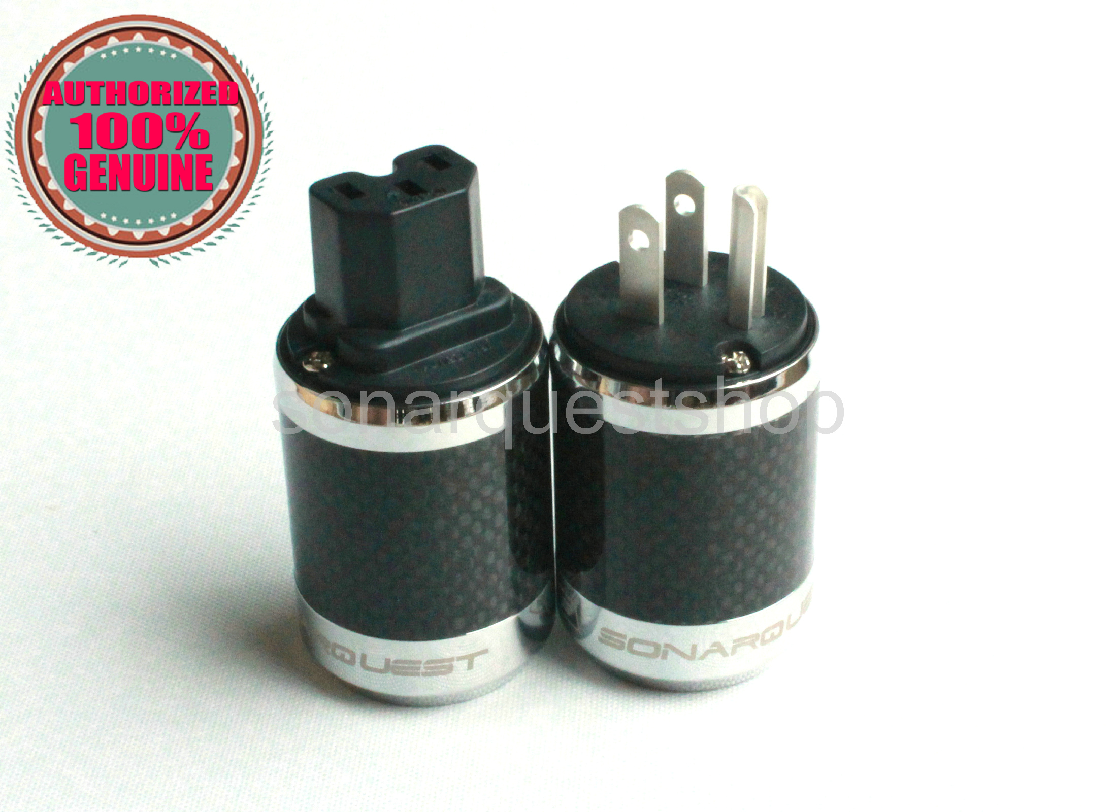 PYK SONARQUEST SQ-P39(Ag)B + SQ-C39(Ag)B US silver Plated BK Carbon fiber Power Plug & IEC Connector