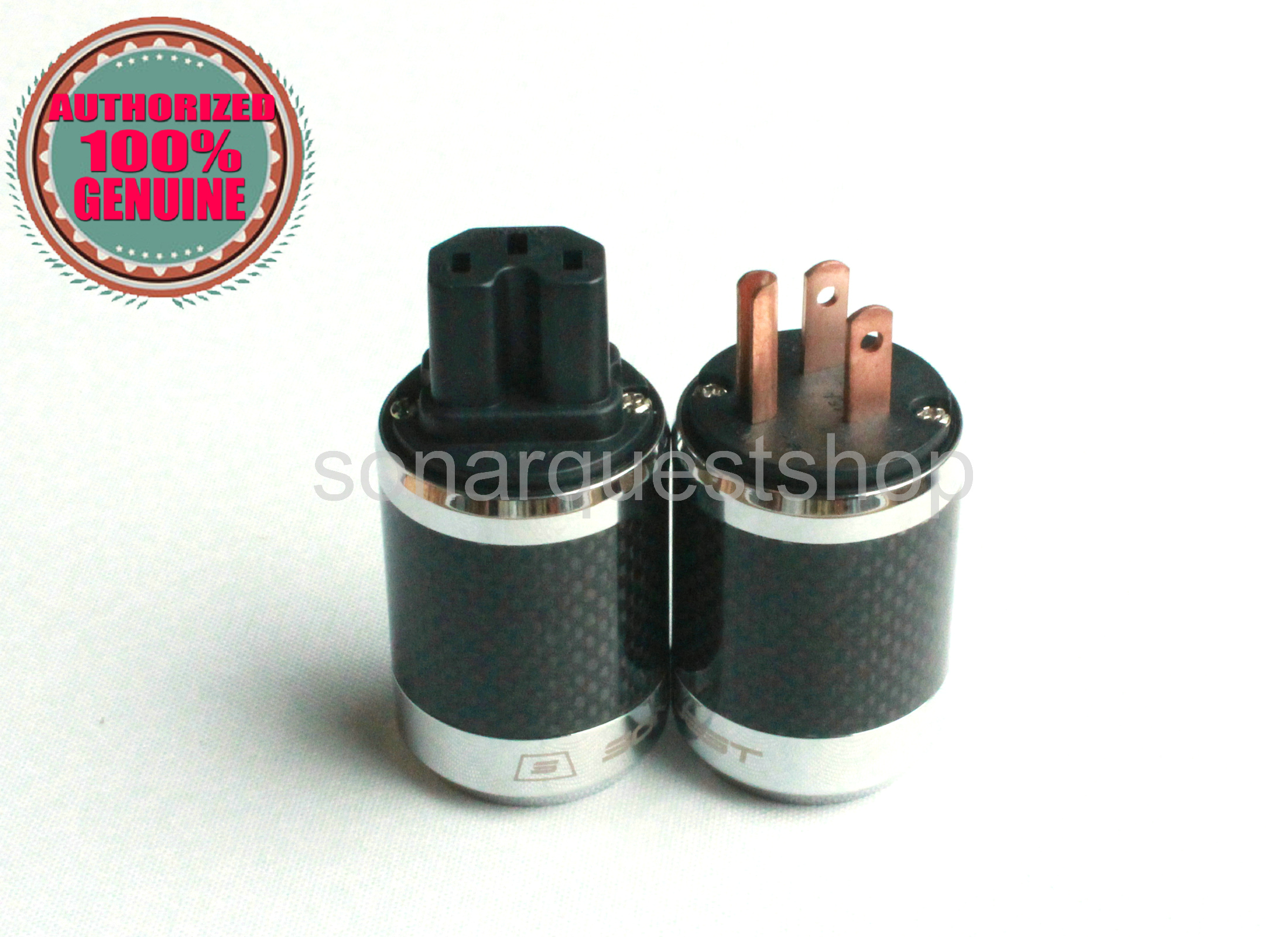 PYK SONARQUEST SQ-P39(C)B + SQ-C39(C)B US Red Copper BK Carbon fiber Power Plug & IEC Connector