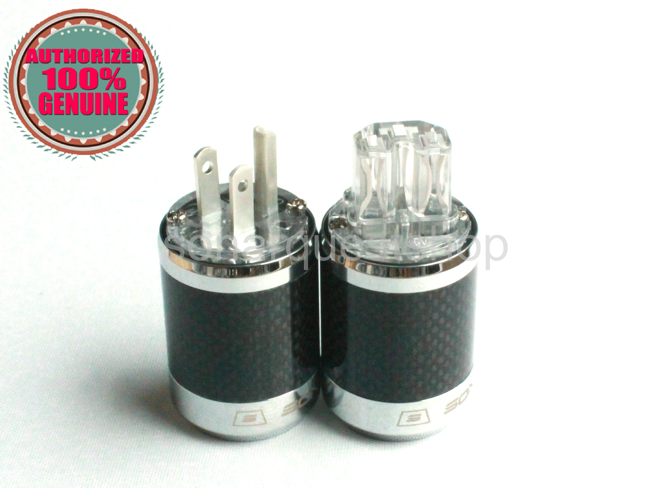 PYK SONARQUEST SQ-P39(Ag)T + SQ-C39(Ag)T US silver Plated UT Carbon fiber Power Plug & IEC Connector