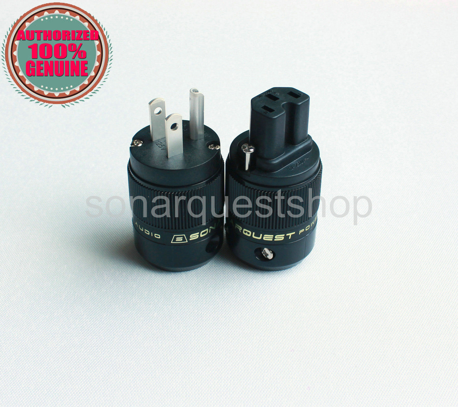SONARQUEST SE-AgP(B) + SE-AgC(B) Silver Plated US ALL Black Power Plug & IEC