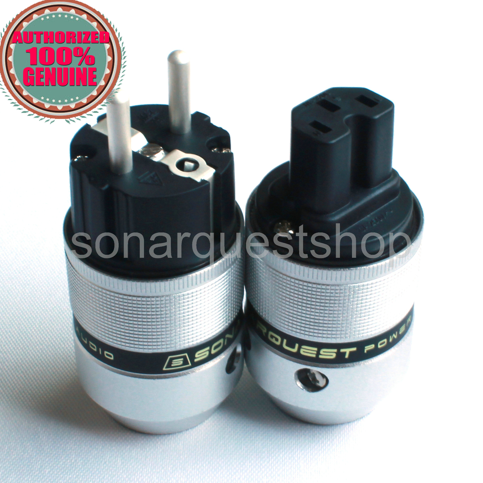 SONARQUEST E25 Ag(B) + C25 Ag(B) EU silver Plated UP Black Aluminum alloy Power Plug & IEC Connector