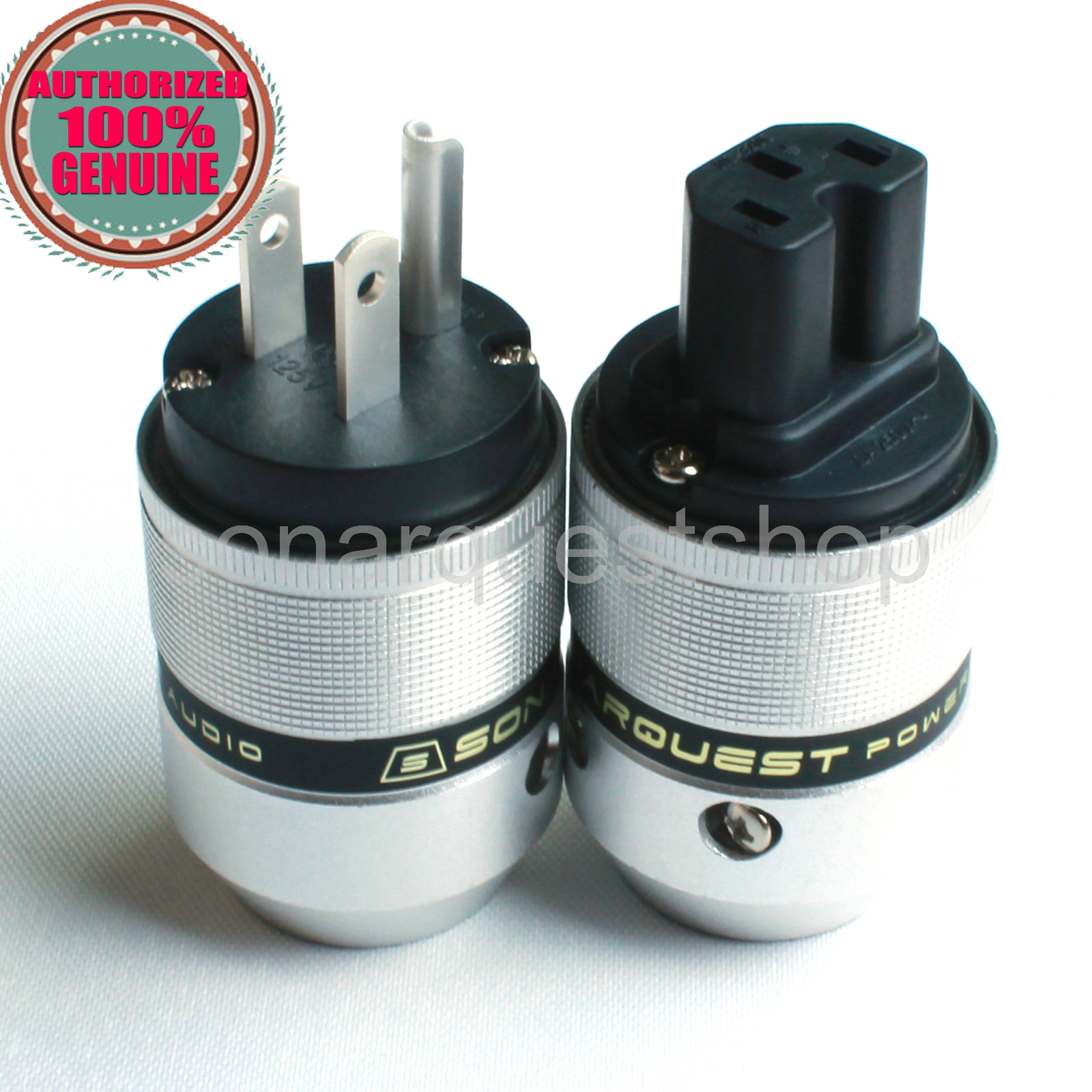 SONARQUEST P25 Ag(B) + C25 Ag(B) US silver Plated UP Black Aluminum alloy Power Plug & IEC Connector