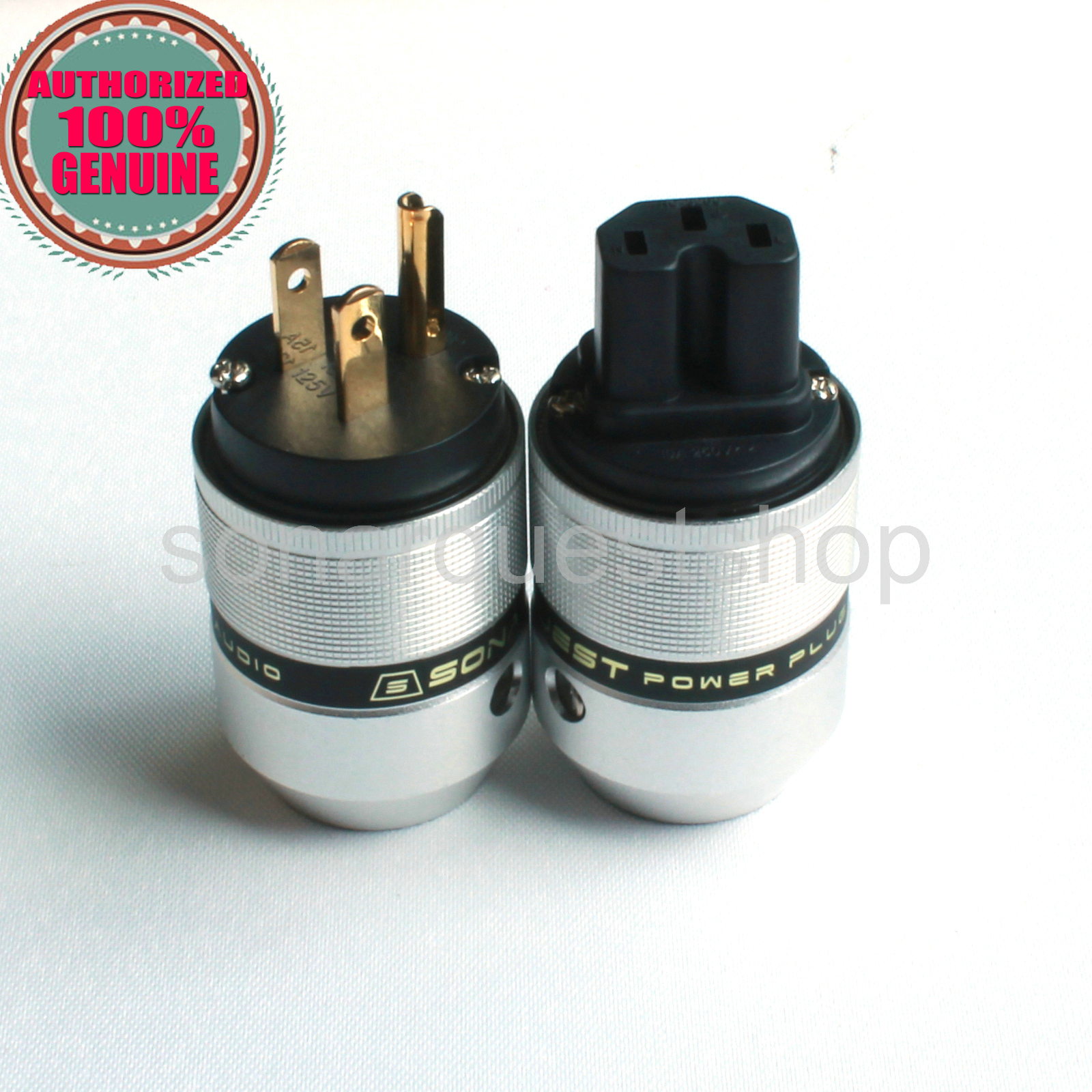 SONARQUEST P25 G(B) + C25 G(B) US Gold Plated UP Black Aluminum alloy Power Plug & IEC Connector